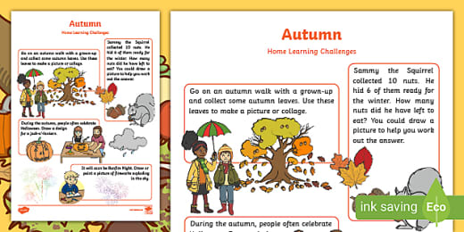 Autumn Home Learning Challenge Sheet Reception Fs2
