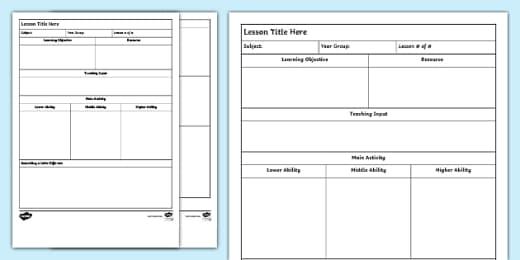 Free Editable Lesson Template Teacher Made
