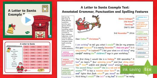 Ks2 A Letter To Santa Example Model Text Teacher Made