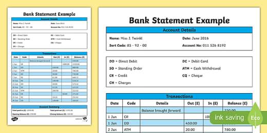Bank Statement Template Teacher Made