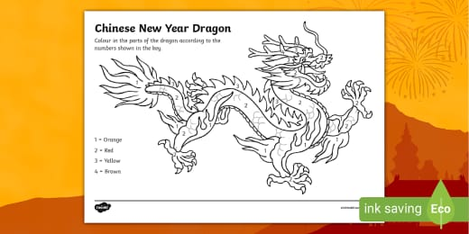 Chinese Dragon Colouring Pictures Chinese New Year