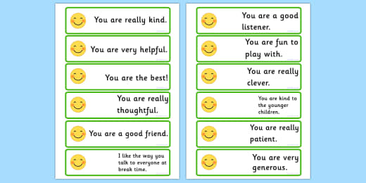 Positive Words And Compliments Worksheet Teacher Made