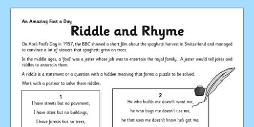 10 Short Riddle Ideas For Kids Teacher Made