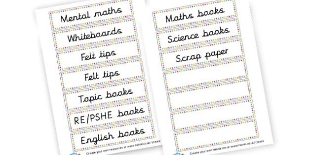Tray Labels - Resource Labels Primary Resources, resource, label, drawer labels