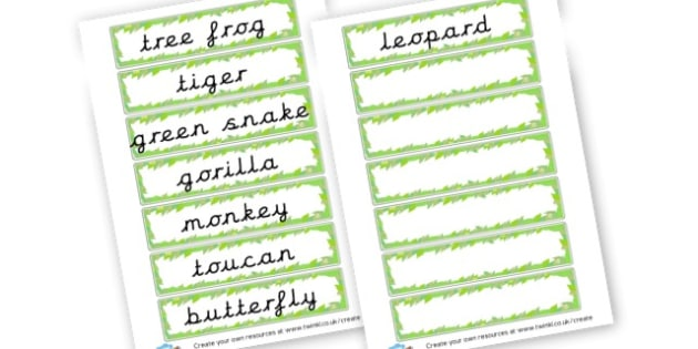 Tropical Animals Word Cards - Tropical House, Days Out, Role Play Primary Resources