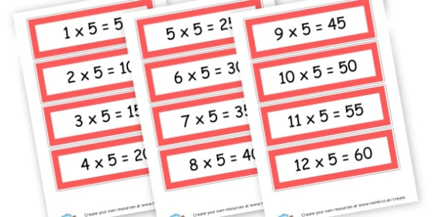 5 x Table Cards - Times Tables Primary Resources, multiply, times, number of, games, Times, Table, Tabe
