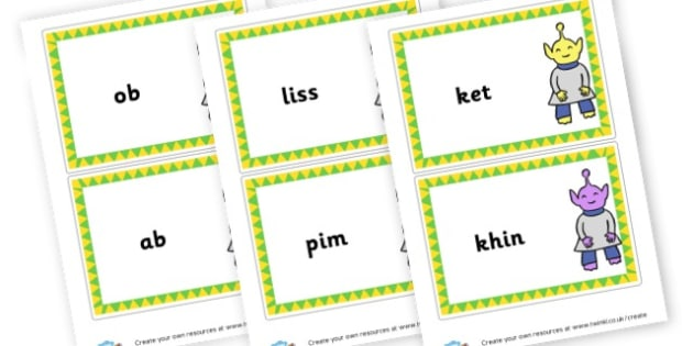 Phase 2 Nonsense Words Large Cards - DFE Letters and Sounds Phonics Screening Check Primary Resources