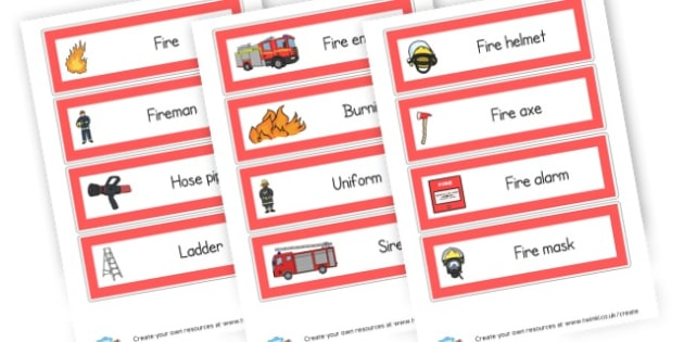 Fire Fighters Word Cards - People Who Help Us Primary Resources, emergency service, role play