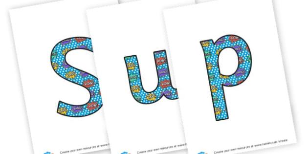 Superheroes lettering - display lettering - Superheroes Display Primary Resources,  Superheroes, Display