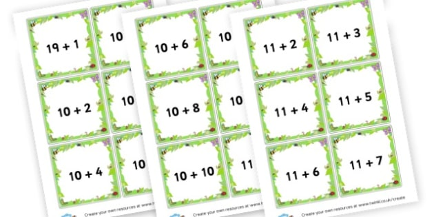 Addition to 20 Cards - Addition Primary Resources, add, plus, more, adding, activities