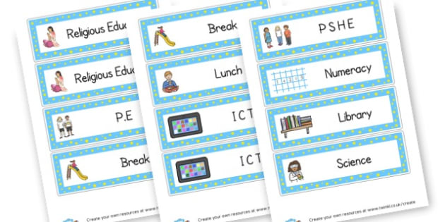 Visual Timetable Cards - Visual Timetables Primary Resources, visual, timetables, routine
