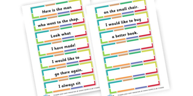 Sentence Puzzle Cards Set 1 - Writing Aids Primary Resources - Writing aid, Ground, grass and sky, line guide, handwriting, activities, writing, letter formation, Early Years (EYFS), KS1 & KS2 Primary Teaching Resources