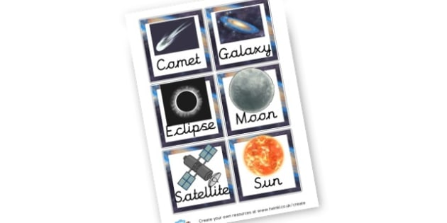 Space Pictures Cards - Space Display Primary Resources, Space, planets, Sun, moon, star