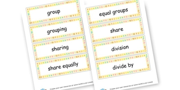 Division Key Words ks1 - Division Primary Resources - Division, divide, share, activities