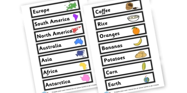 World Foods - display lettering - Countries And Continents The World Primary Resources, places