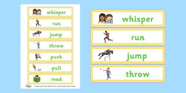 Verb Flashcards - Verb Primary Resources, verbs, noun, adjective, wow, keywords