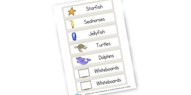 Sea Creatures Group Tray Labels - Sea and Ocean Themed Classroom Signs Primary Resources, classroom