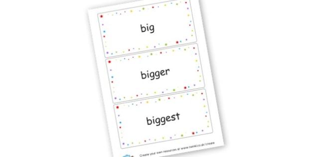 Superlative Word Cards - Grammar Visual Aids Primary Resources, grammar, aids, activities
