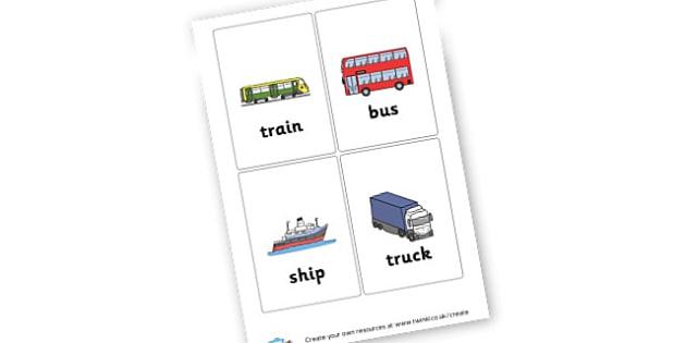 transport flashcards - Drawer Peg Labels Transport Primary Resources, name, label, car,