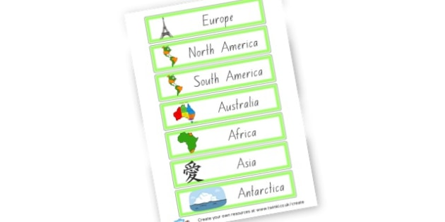 Continents Name Cards - Countries And Continents Primary Resources, city, sights, country
