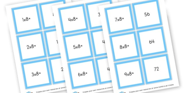 8 Times Table Cards - Times Tables Primary Resources, multiply, times, number of, games, Times, Table, Tabe