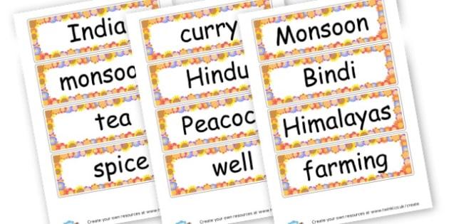 KS2 India Topic Vocabulary List - KS2 India, Geography, Around the World, KS2 Geography