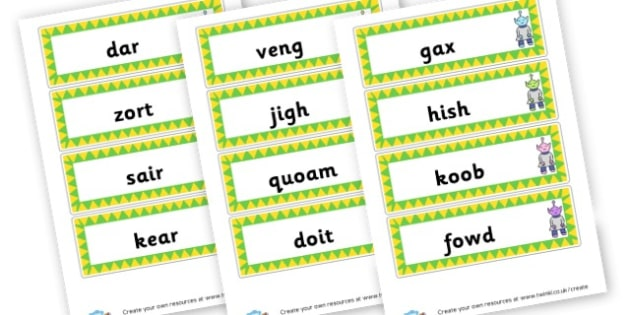 Phase 3 Nonsense Word Cards - DFE Letters and Sounds Phonics Screening Check Primary Resources