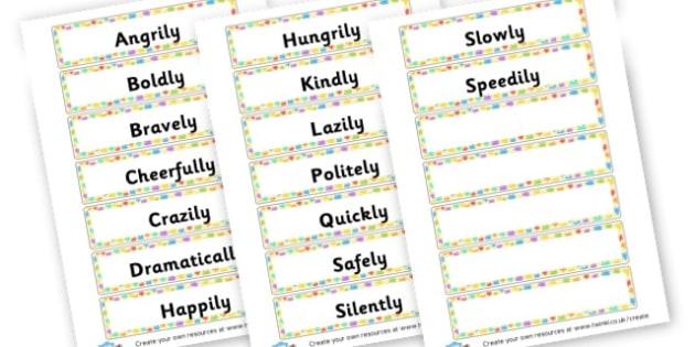 Adverbs Labels - KS2 Verbs and Adverbs Primary Resources, Verbs, Adverbs, KS2 Words
