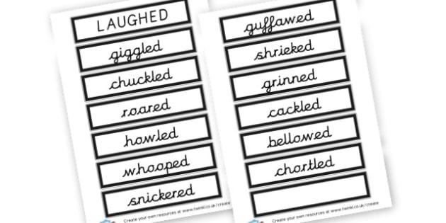 Alternative Words For Laughed - Grammar Activity Primary Resources, grammar aids, activities