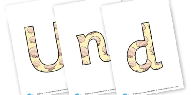 Under the Sea lettering - display lettering - Under the Sea Primary Resources, sea, shark, octopus, starfish, seaside shoip