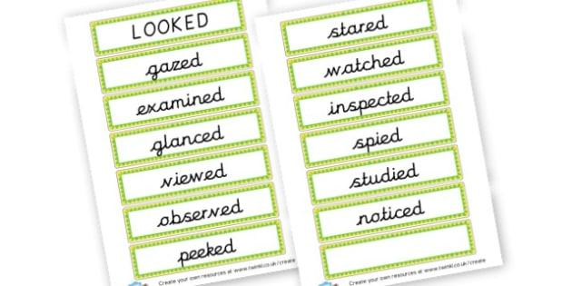 Alternative Words for Looked - Grammar Activity Primary Resources, grammar aids, activities