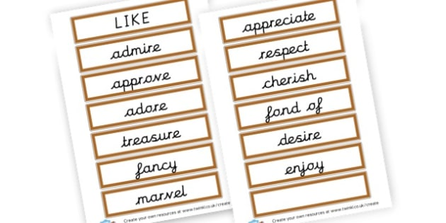 Alternative Words For Like - Grammar Activity Primary Resources, grammar aids, activities