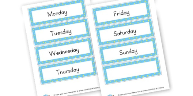 Days of the Week Word Cards - Drawer & Peg Name Labels Primary Resources, Name Label, Label, Peg