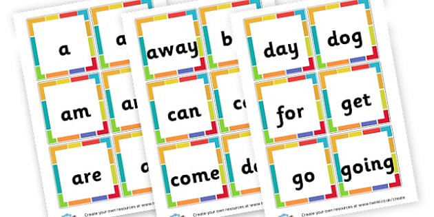 Reception High Frequency Word cards - High Frequency Words Visual Aids Primary Resources, letters