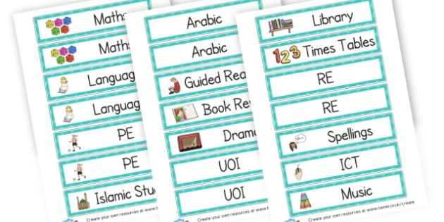 Lessons Labels - Visual Timetables Primary Resources, visual, timetables, routine