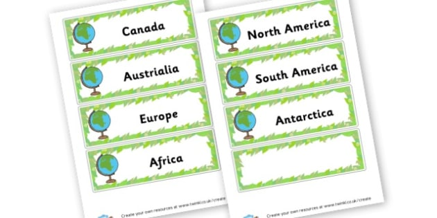 Continent Cards - Countries And Continents Primary Resources, city, sights, country