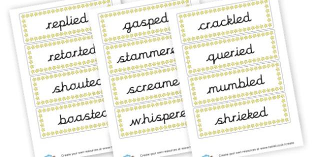 Alternative Words for Said - KS2 Story Writing Aids, Story Writing, Literacy, KS2 English