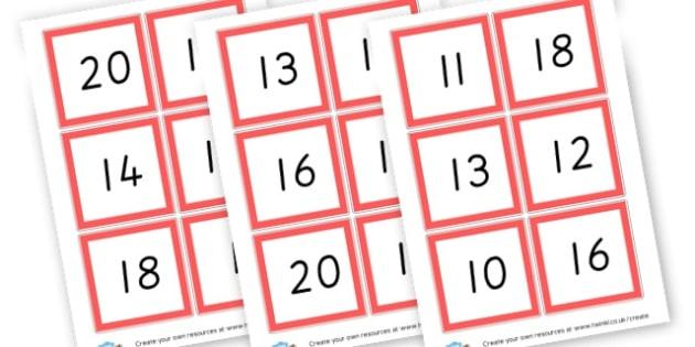 Bingo 0-20 - Bingo and Lotto Primary Resources, Bingo, Lotto, Games, Activities