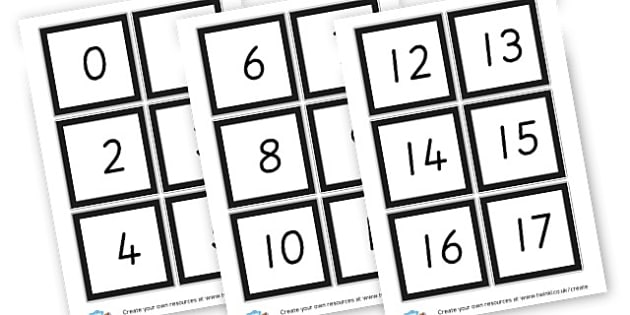 Number cards 1 -100
