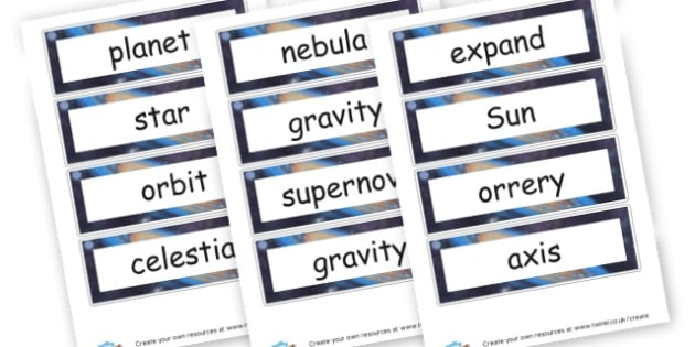 Space Words - Space Primary Resources - planets, Sun, moon, stars, rocket, alien