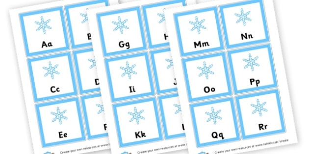 Winter Alphabet Cards - Winter Alphabet Primary Resources, letter, sounds, phonics, poster