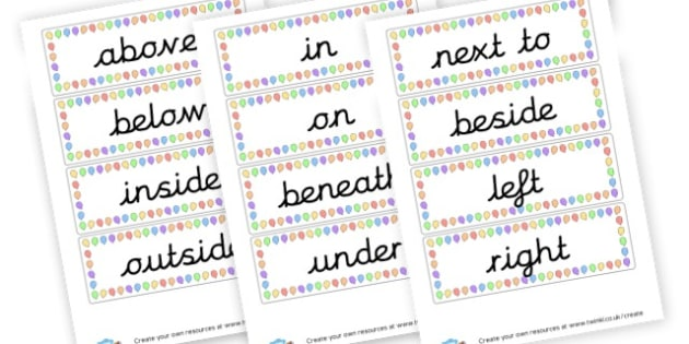 Positional Language Cards - Position Primary Resources, positional, shapes, space, measures