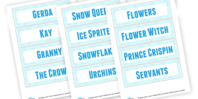 Snow Queen Character Cards - Traditional Tales The Snow Queen Primary Resources -  Primary Res