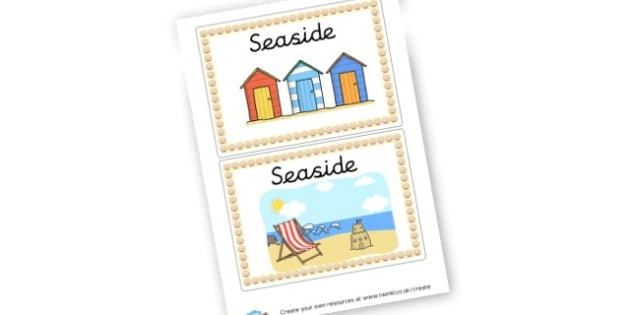 Seaside Box Labels - The Seaside Labels Primary Resources, beach, sun, sand