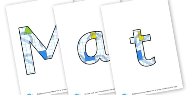 6m - display lettering - Maths Area Primary Resources, maths is fun, signs, labels, areas
