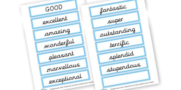 Alternative Words for Good - Grammar Activity Primary Resources, grammar aids, activities