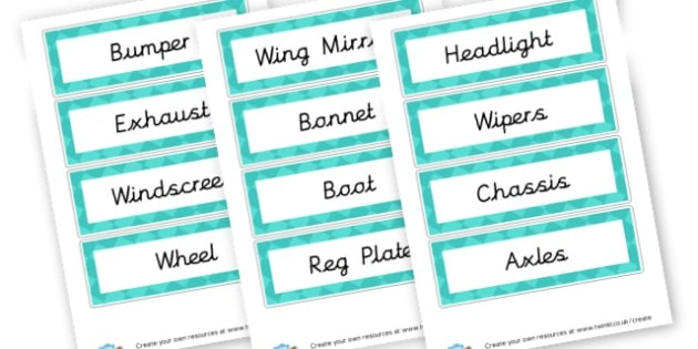 Cars Vocabulary Cards - Transport Literacy Primary Resources, letters, letter, sounds