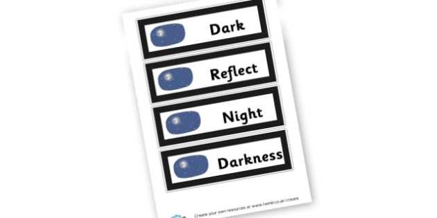 Dark Display Words - Light & Dark Primary Resources, light and dark, topic, day, night