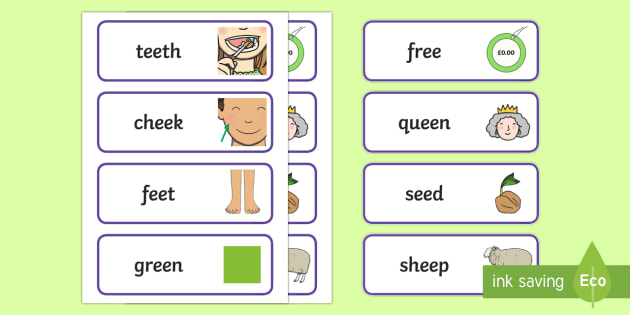 Ee Word Cards - Sound Families Primary Resources, sound, sounds, sound family
