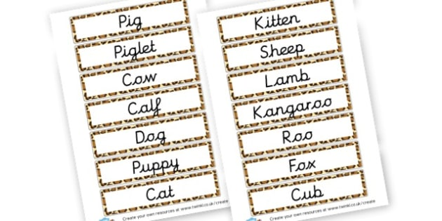 Animals and their Babies Word Cards - Primary Resources English, Literacy, Letters and Sounds, phonics